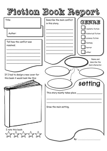 Book Reports Elementary by Fiction Book Report Pdf Quot School Quot To Try Lessons