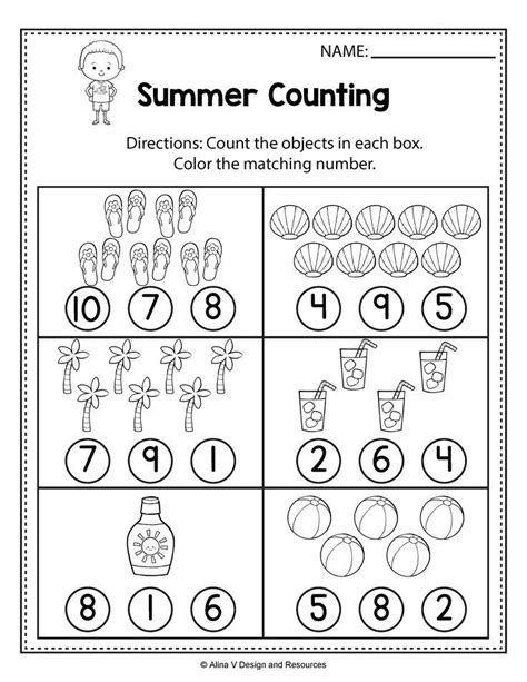 Counting Worksheets  Summer Math Worksheets And Activities For Preschool, Kindergarten And 1st