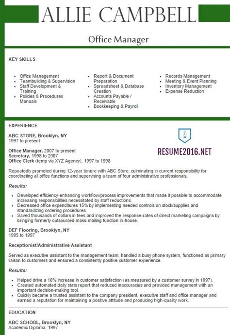 Best It Manager Resumes by Office Manager Resume 2016 Best Sles