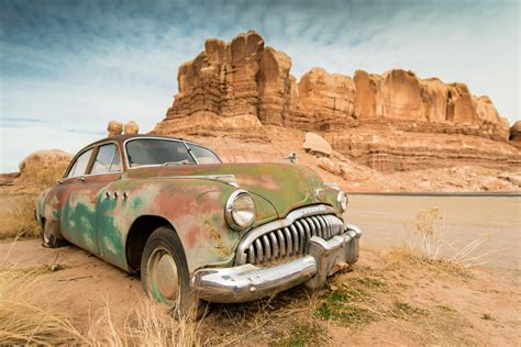 Car, Wreck, Rock Formation, Desert Wallpapers Hd / Desktop