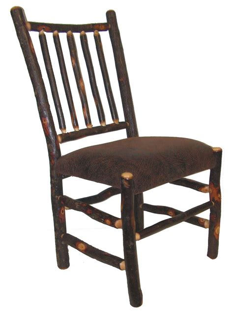 rustic hickory upholstered spindle back dining chair with
