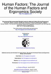 Pdf  Provisional Recommended Weight Limits For Manual
