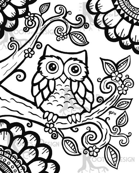 instant  coloring page cute owl zentangle