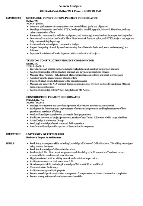 Resume Creation Pdf construction project coordinator resume sles velvet