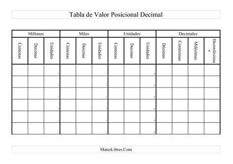 la hoja de ejercicios de tabla de valor posicional decimal