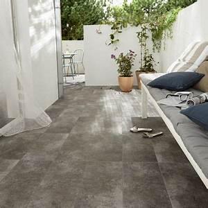 Carrelage Terrasse Gris : carrelage terrasse gris 60 x 60 cm lounge castorama ~ Nature-et-papiers.com Idées de Décoration