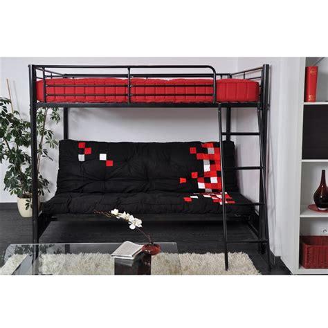 lit mezzanine 2 places avec canap hugo lit mezzanine enfant avec sommiers banquette clic