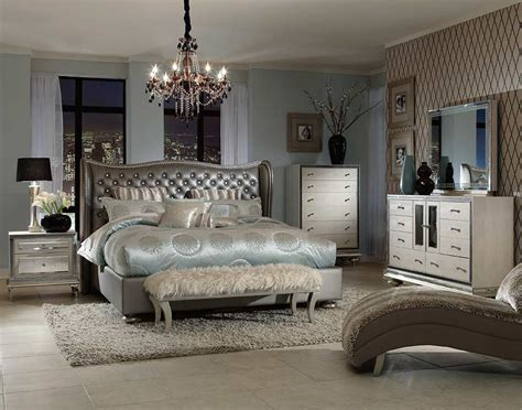 Bedroom Furniture Bed by Swank Metallic Graphite Platform Bed By Aico