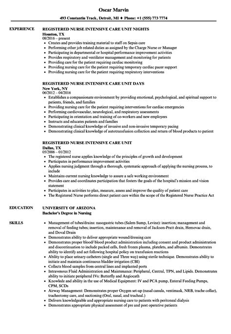 Icu Rn Resume by Intensive Care Unit Registered Resume Sles