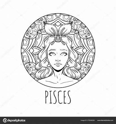 Pisces Zodiac Sign Adult Coloring Artwork Illustration