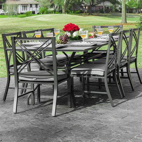 8 person patio table audubon 8 person aluminum patio dining set with 6 side