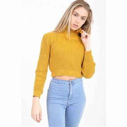 Jumper Yellow Mustard Cropped Knitted Frill Neck