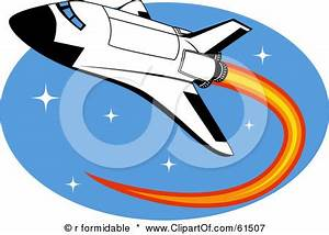 Cartoon clipart space shuttle - Pencil and in color ...
