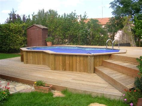 superbe piscine semi enterree bois leroy merlin 2 cr233dits photos terrasse piscine semi