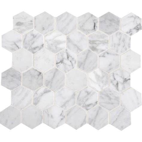 carrara hexagons and mosaics on