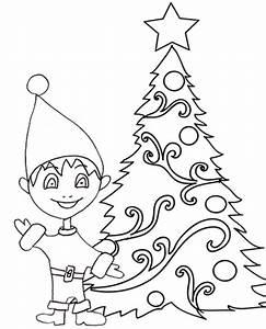 Disegno di un piccolo elfo davanti all'albero di Natale Cose Per Crescere