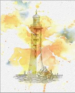 LIGHTHOUSE Watercolor Painting Art Print 8 x 10 Watercolor ...