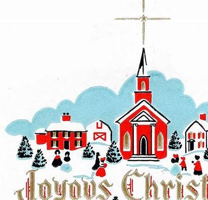 Christmas Church Scene Retro Clipart Winter Clip