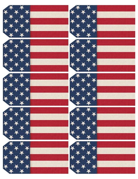 printable sheet   patriotic usa flag themed tags