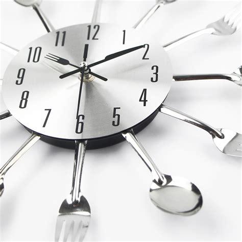 designer kitchen clocks 2016 new modern kitchen wall clock sliver cutlery clocks 3231