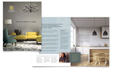 template plaquette indesign interior design brochure template design
