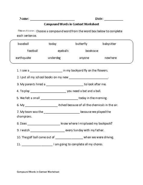 creating compound words worksheet englishlinx com board