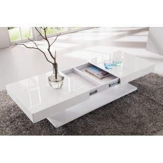 table basse design blanc laqu 233 avec rangements et plateaux coulissants