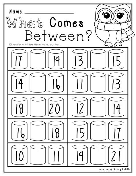 kindergarten numbers between worksheet