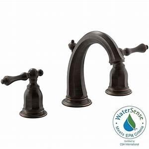 Kohler kelston 8 in widespread 2 handle water saving for Water saving bathroom faucets