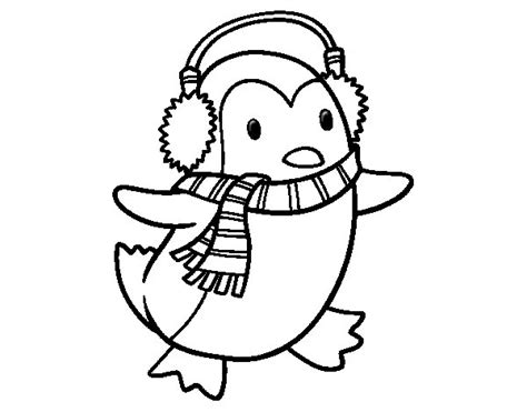 Penguin with scarf coloring page Coloringcrew com