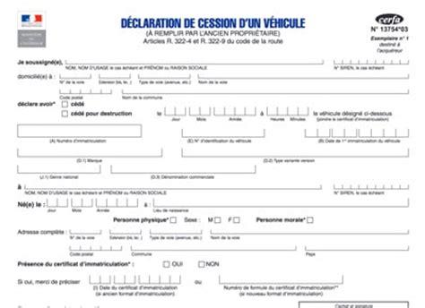 document vente voiture occasion certificat de cession d une voiture formulaire cerfa gratuit