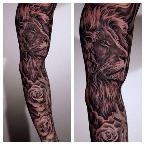 Energizing Lion And Rose Tattoo On Sleeve Tats