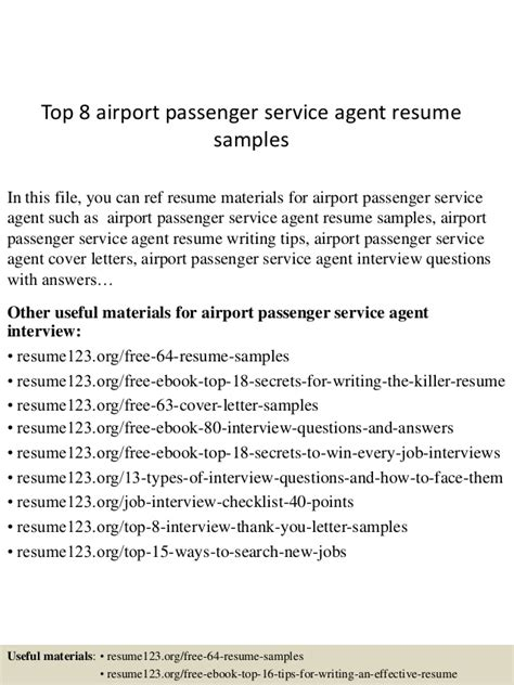 top  airport passenger service agent resume samples