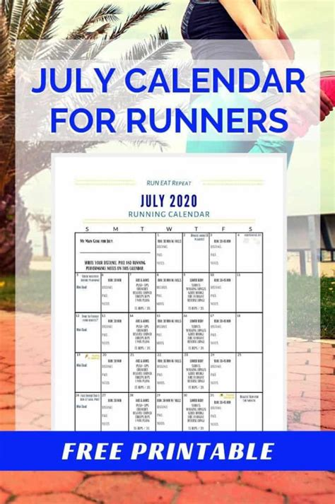 This themed printable calendar is free and ready to print and use. Running Journal Calendar - July 2020 free printable ...