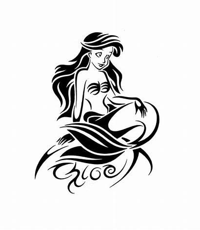 Mermaid Tattoo Outline Tattoos Ariel Tribal Designs