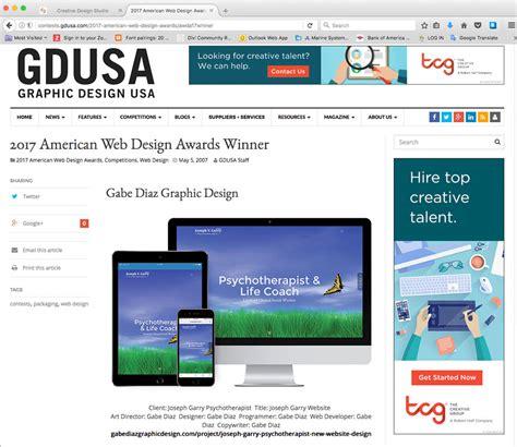 web design awards joseph garry psychotherapist website wins 2017 gdusa web