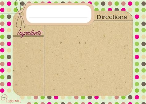 s day recipe card template free printable recipe card my best pins レシピカード 印刷可能な