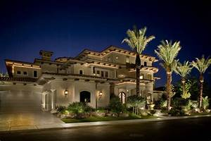 Exterior elevation with cove lights - Mediterranean