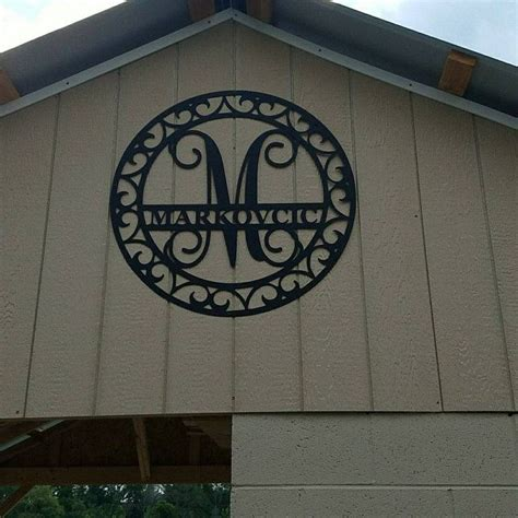 large metal monogram  scroll border indooroutdoor valentine gift anniversary gift