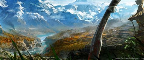Download Wallpapers 3840x2160 Far Cry 4, Sword, Mountain