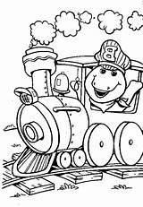 Barney Train Coloring Driving sketch template