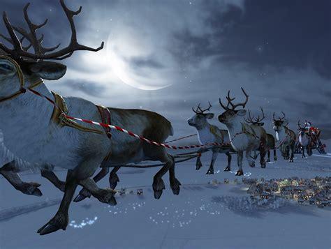 santa flying reindeer wallpaper  hd santa