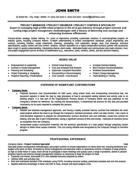 Project Controls Engineer Resume Sle by Project Controls Specialist Resume Template Premium Resume Sles Exle