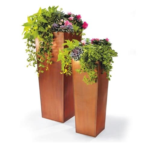 Copper Outdoor Planters by Column Planters 33 Quot And 42 Quot From Grandinroad