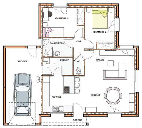 plan architecture maison 70 m2 maison moderne