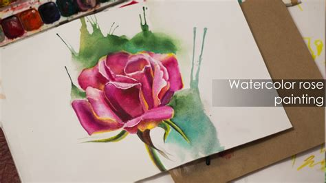 easy watercolor painting rose wet  wet technique youtube
