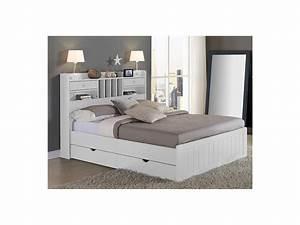 Lit Double Avec Rangement : lit mederick avec rangements 140x190 pin blanc ~ Teatrodelosmanantiales.com Idées de Décoration