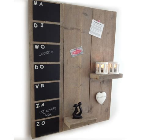 inrichting huis autisme steigerhouten weekplanner met plankjes 80x60cm