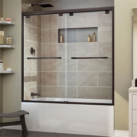 tub shower doors dreamline encore 56 in to 60 in x 58 in framed bypass