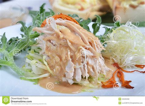how do you boil chicken for shredding shredded boiled chicken with sauce stock photography image 34949492
